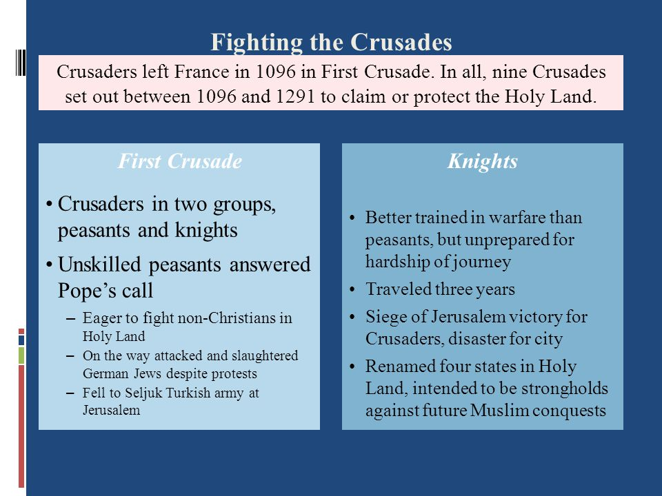 The First Crusade (1096-1099)  Peasant army  Untrained  Lacked military equipment  Many killed by Muslim Turks  Knights  Succeeded in capturing Jerusalem