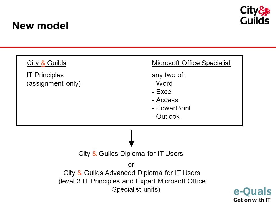 New model City & GuildsMicrosoft Office Specialist IT Principlesany two of: (assignment only)- Word - Excel - Access - PowerPoint - Outlook City & Guilds Diploma for IT Users or: City & Guilds Advanced Diploma for IT Users (level 3 IT Principles and Expert Microsoft Office Specialist units)