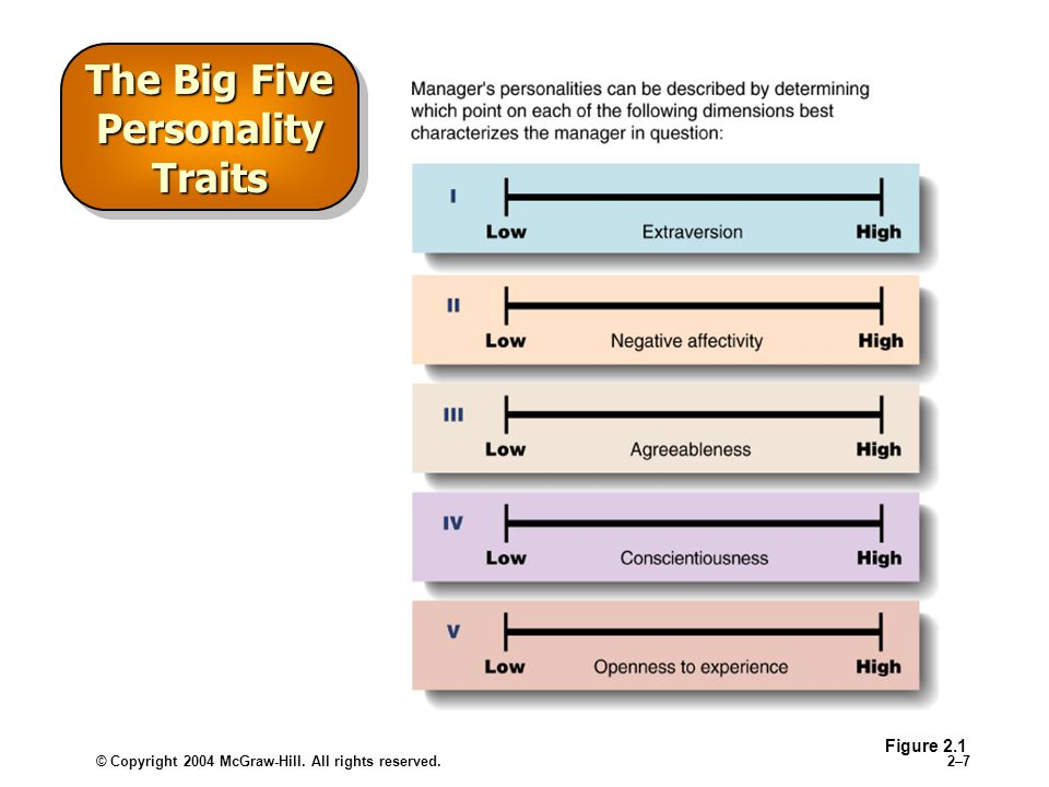 © Copyright 2004 McGraw-Hill. All rights reserved.2–72–7 The Big Five Personality Traits Figure 2.1