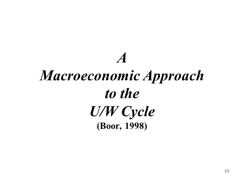 11 A Macroeconomic Approach to the U/W Cycle (Boor, 1998)