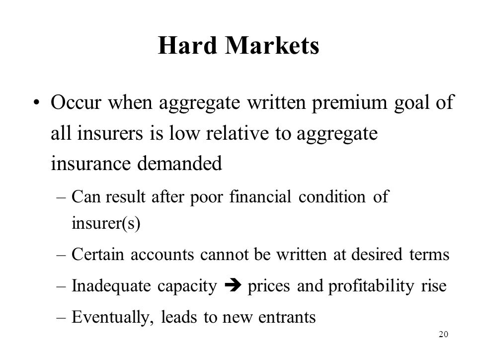 20 Hard Markets Occur when aggregate written premium goal of all insurers is low relative to aggregate insurance demanded –Can result after poor financial condition of insurer(s) –Certain accounts cannot be written at desired terms –Inadequate capacity  prices and profitability rise –Eventually, leads to new entrants