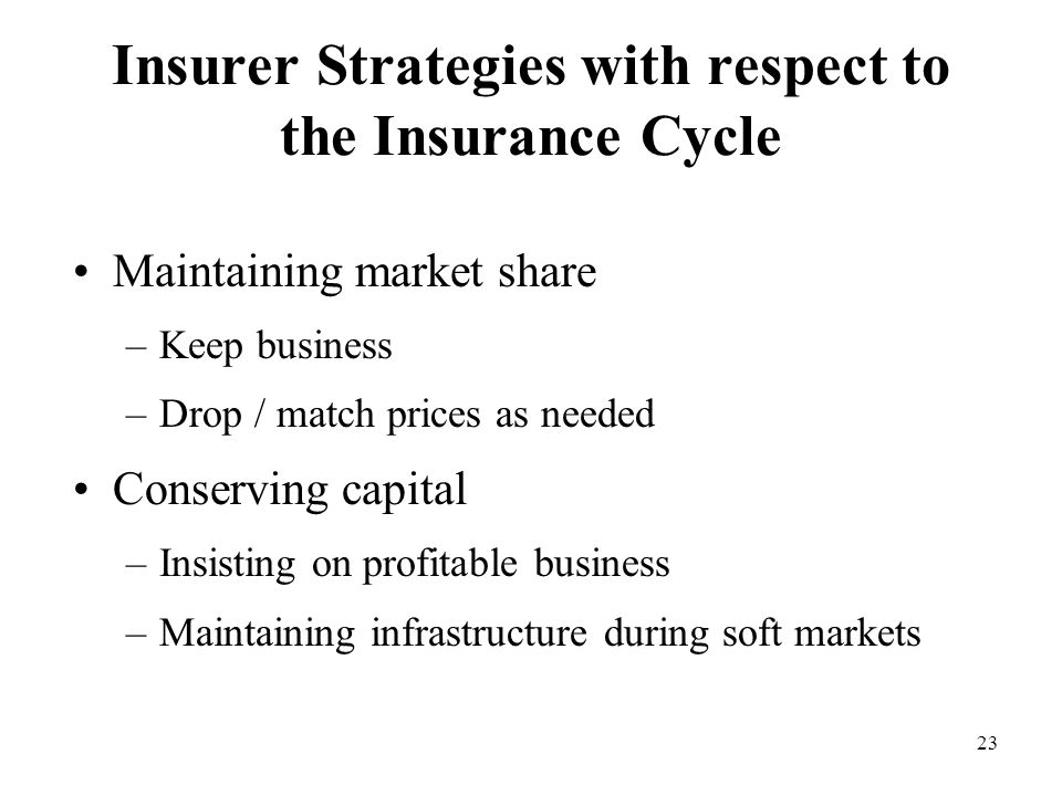 23 Insurer Strategies with respect to the Insurance Cycle Maintaining market share –Keep business –Drop / match prices as needed Conserving capital –Insisting on profitable business –Maintaining infrastructure during soft markets