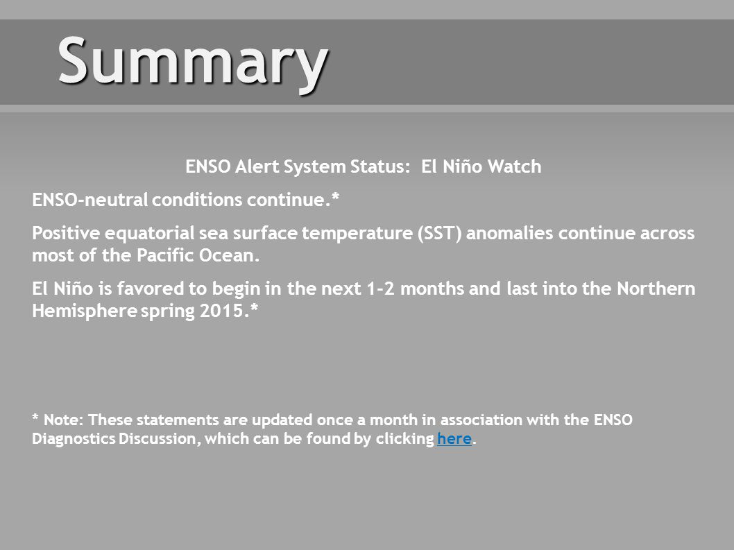 * Note: These statements are updated once a month in association with the ENSO Diagnostics Discussion, which can be found by clicking here.here Summary ENSO Alert System Status: El Niño Watch ENSO-neutral conditions continue.* Positive equatorial sea surface temperature (SST) anomalies continue across most of the Pacific Ocean.