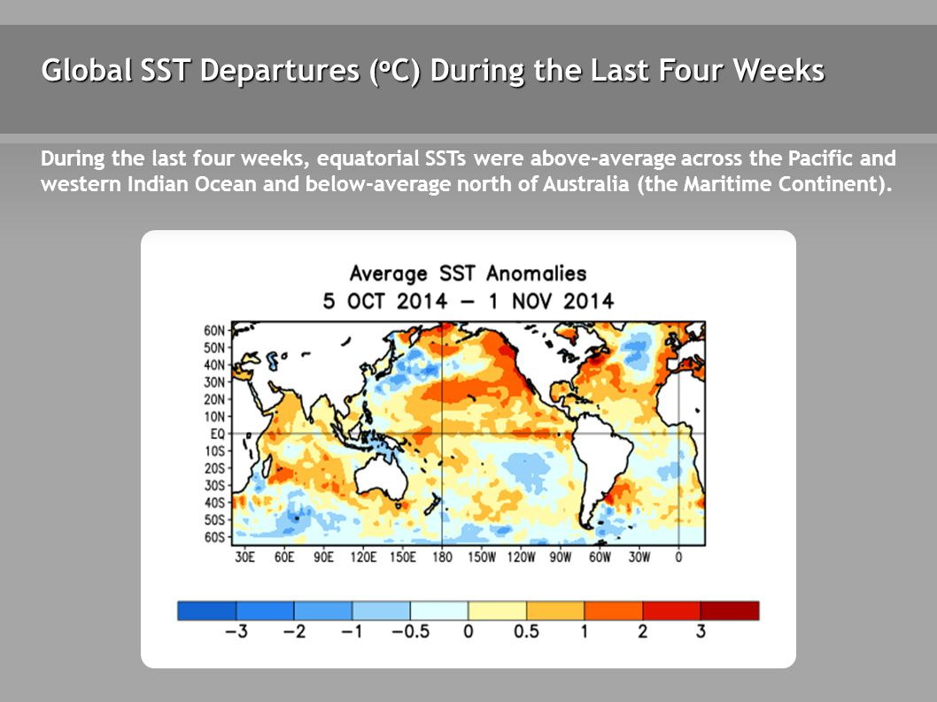 Global SST Departures ( o C) During the Last Four Weeks During the last four weeks, equatorial SSTs were above-average across the Pacific and western Indian Ocean and below-average north of Australia (the Maritime Continent).