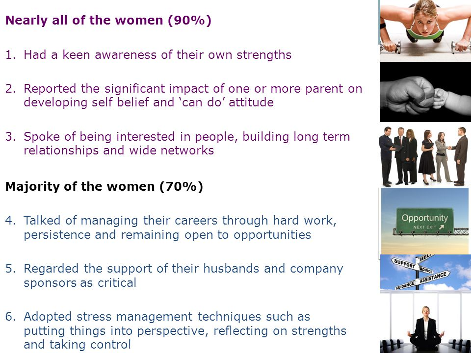 Nearly all of the women (90%) 1.Had a keen awareness of their own strengths 2.Reported the significant impact of one or more parent on developing self belief and 'can do' attitude 3.Spoke of being interested in people, building long term relationships and wide networks Majority of the women (70%) 4.Talked of managing their careers through hard work, persistence and remaining open to opportunities 5.Regarded the support of their husbands and company sponsors as critical 6.Adopted stress management techniques such as putting things into perspective, reflecting on strengths and taking control