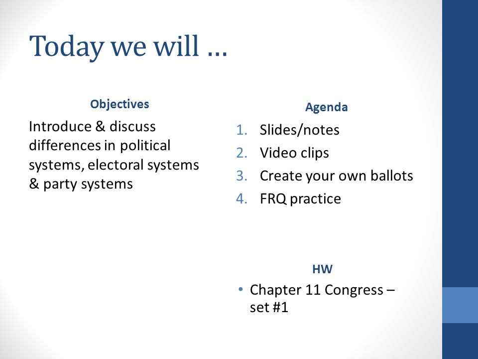 Today we will … Objectives Introduce & discuss differences in political systems, electoral systems & party systems HW Chapter 11 Congress – set #1 Agenda 1.Slides/notes 2.Video clips 3.Create your own ballots 4.FRQ practice
