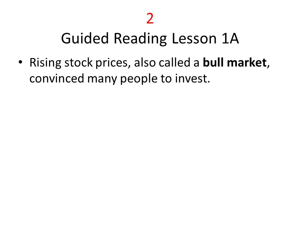 3 Guided Reading Activity Lesson 2B By mid-November of 1929, the market price of stocks had dropped about 30 Billions Banks were weakened in two ways: banks had loaned billions to stock speculators, and they had invested depositors' money in the stock market.