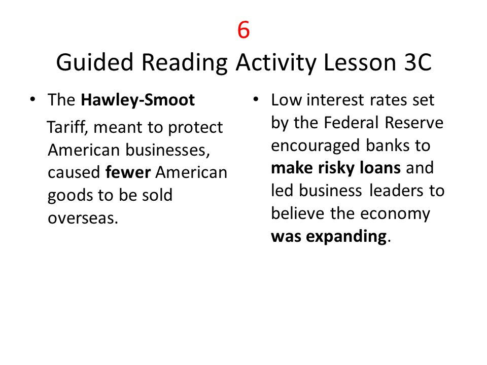 7 Summary and Reflection GRA Lesson 1 Many Americans were in debt because of risky investments.