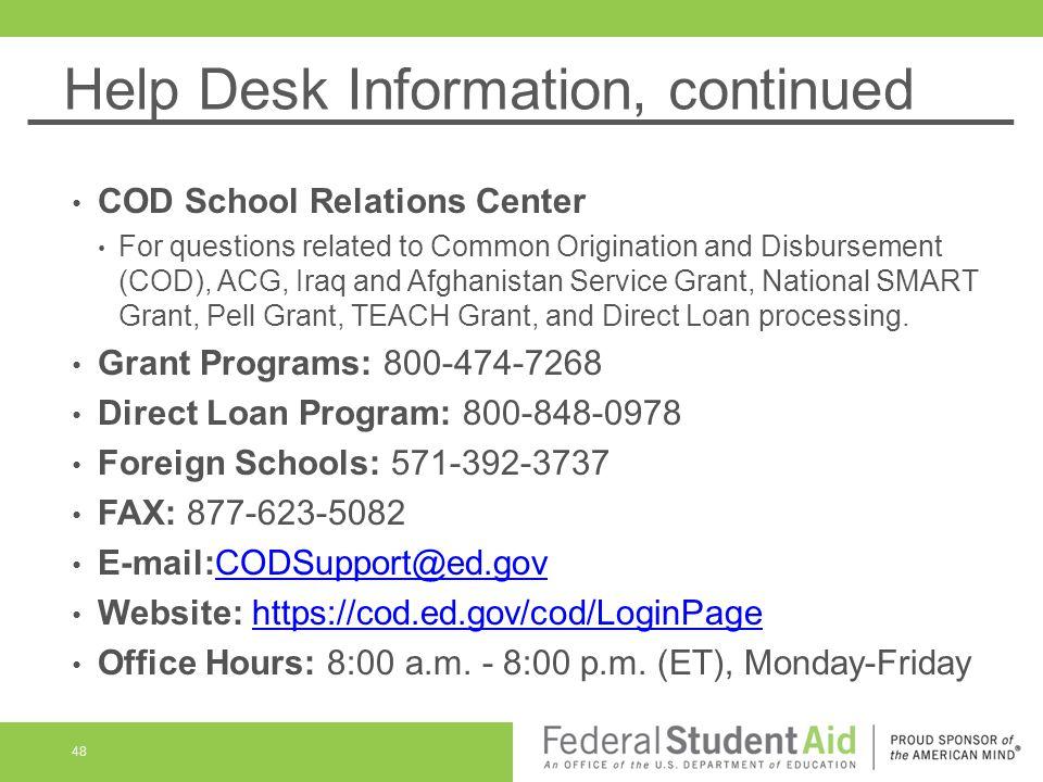 48 Help Desk Information Continued Cod