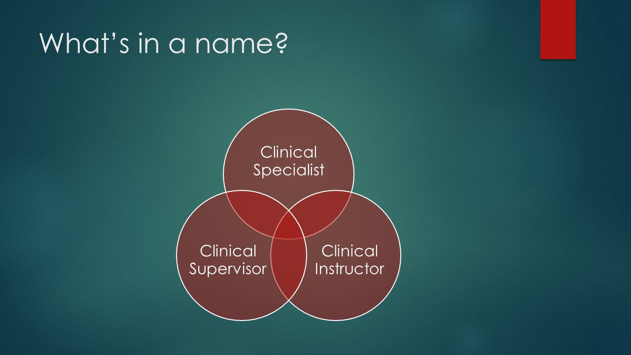 What's in a name Clinical Specialist Clinical Instructor Clinical Supervisor