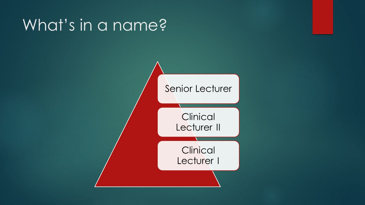 What's in a name Senior Lecturer Clinical Lecturer II Clinical Lecturer I