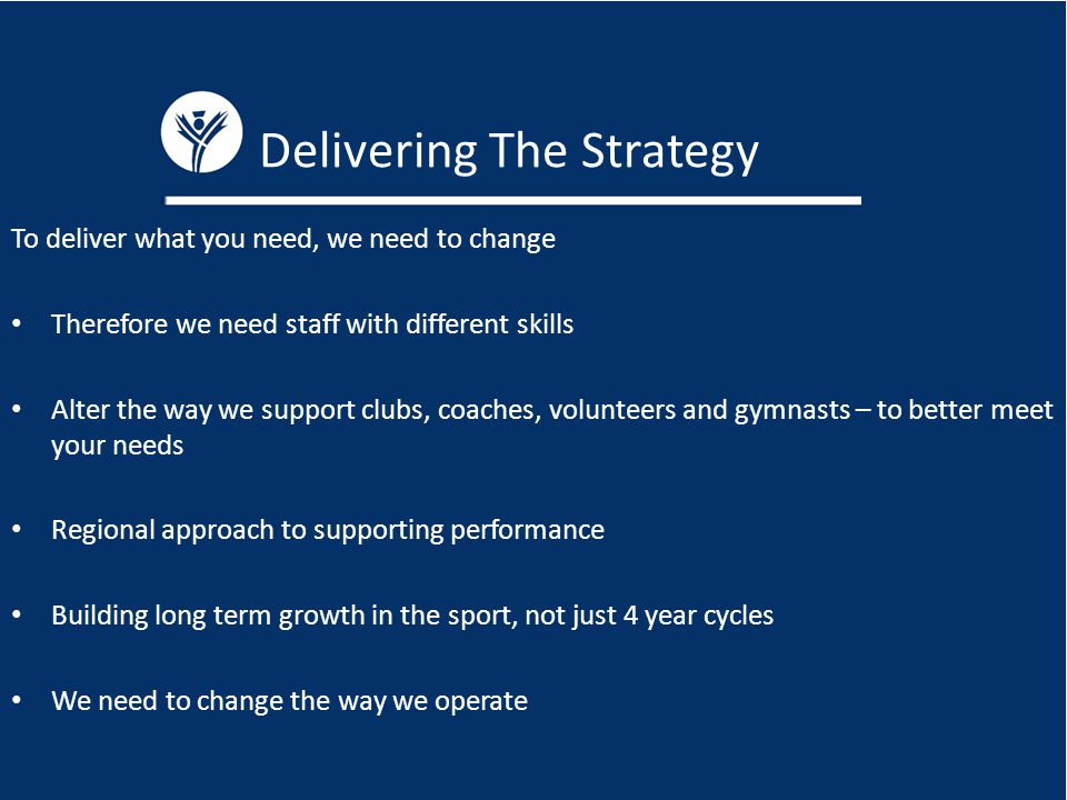 Delivering The Strategy To deliver what you need, we need to change Therefore we need staff with different skills Alter the way we support clubs, coaches, volunteers and gymnasts – to better meet your needs Regional approach to supporting performance Building long term growth in the sport, not just 4 year cycles We need to change the way we operate