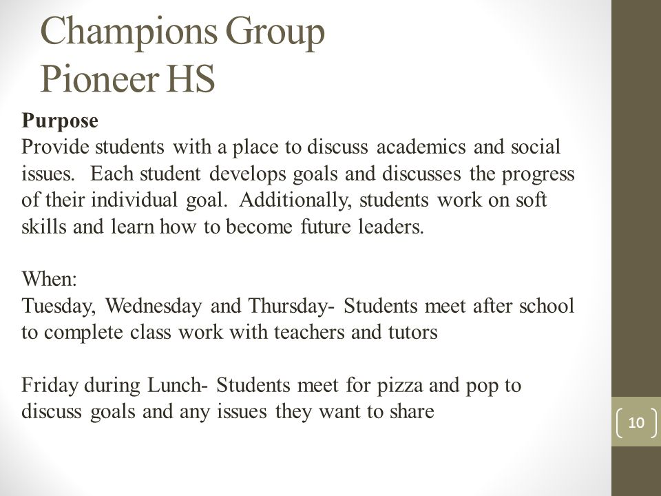 Champions Group Pioneer HS Purpose Provide students with a place to discuss academics and social issues.
