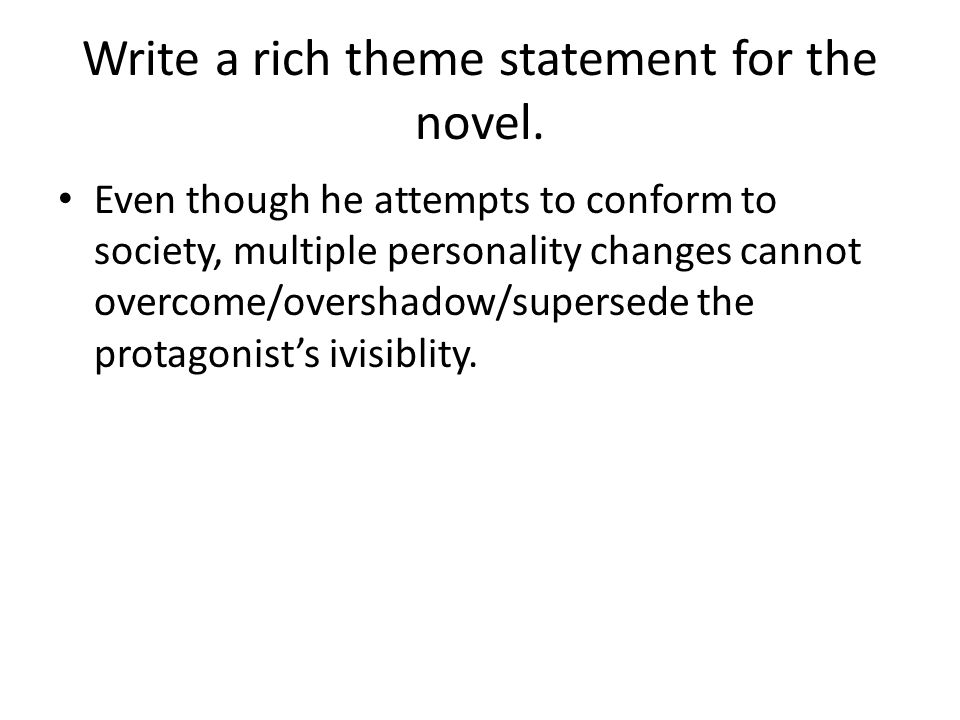 Thesis statements on invisible man