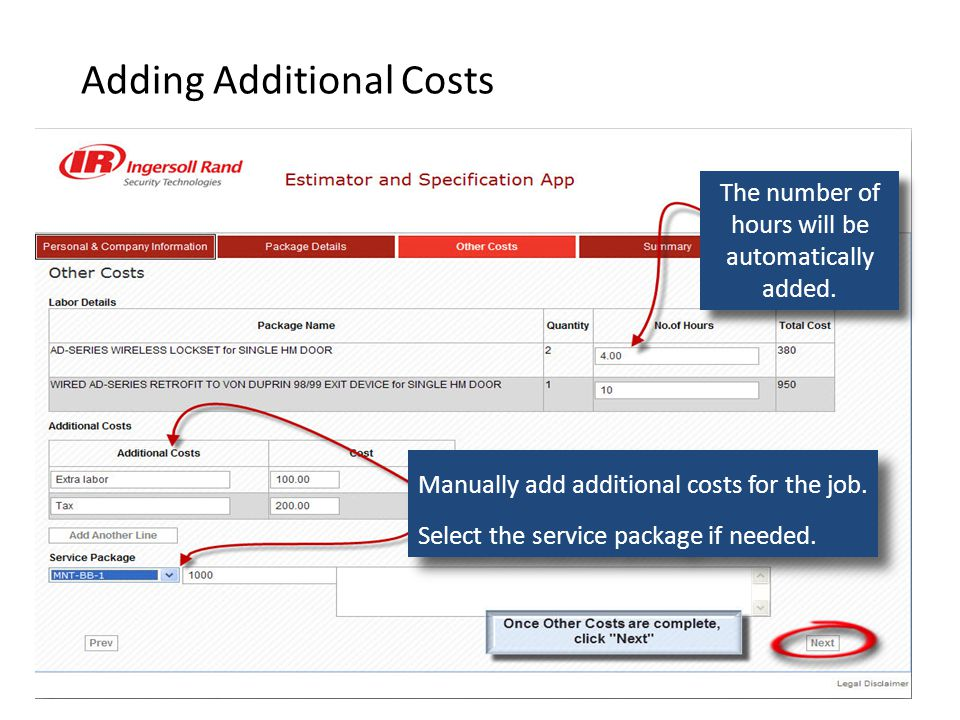 Adding Additional Costs Manually add additional costs for the job.