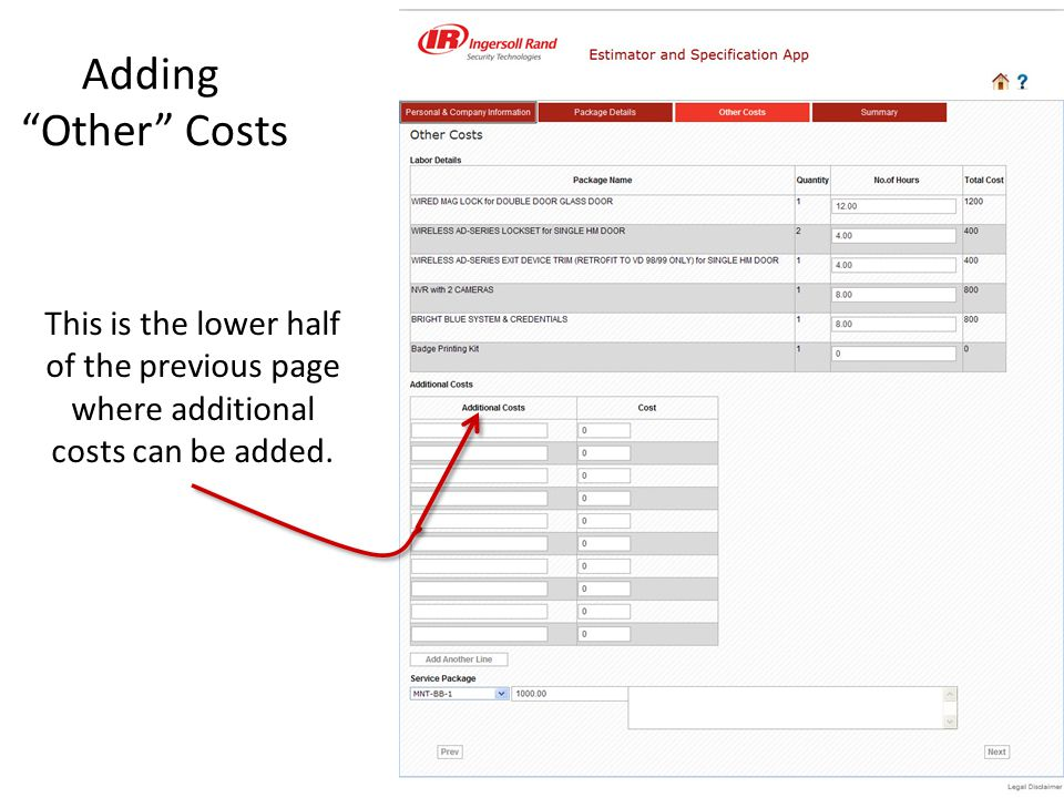 This is the lower half of the previous page where additional costs can be added.