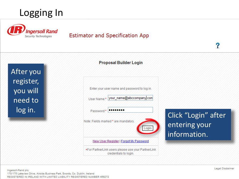 Click Login after entering your information. After you register, you will need to log in.