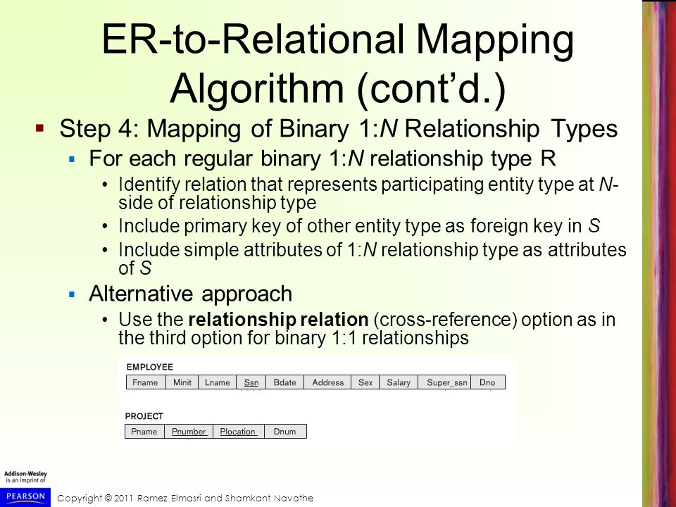 Copyright © 2011 Ramez Elmasri and Shamkant Navathe ER-to-Relational Mapping Algorithm (cont'd.)  Step 4: Mapping of Binary 1:N Relationship Types  For each regular binary 1:N relationship type R Identify relation that represents participating entity type at N- side of relationship type Include primary key of other entity type as foreign key in S Include simple attributes of 1:N relationship type as attributes of S  Alternative approach Use the relationship relation (cross-reference) option as in the third option for binary 1:1 relationships