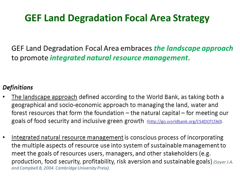 GEF Land Degradation Focal Area Strategy GEF Land Degradation Focal Area embraces the landscape approach to promote integrated natural resource management.