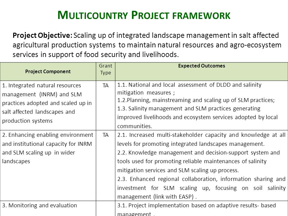 M ULTICOUNTRY P ROJECT FRAMEWORK Project Objective: Scaling up of integrated landscape management in salt affected agricultural production systems to maintain natural resources and agro-ecosystem services in support of food security and livelihoods.