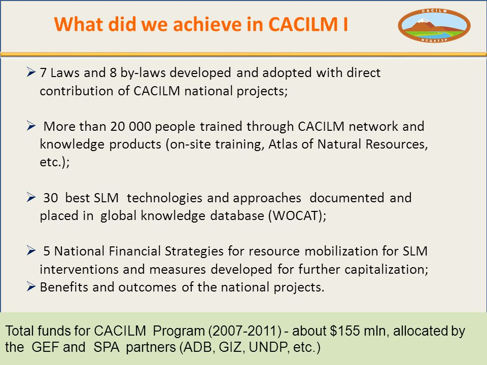 What did we achieve in CACILM I  7 Laws and 8 by-laws developed and adopted with direct contribution of CACILM national projects;  More than people trained through CACILM network and knowledge products (on-site training, Atlas of Natural Resources, etc.);  30 best SLM technologies and approaches documented and placed in global knowledge database (WOCAT);  5 National Financial Strategies for resource mobilization for SLM interventions and measures developed for further capitalization;  Benefits and outcomes of the national projects.
