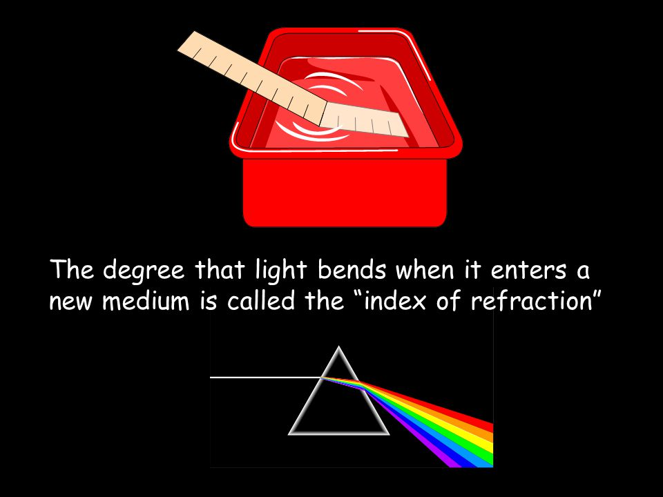 Refraction Refraction is when waves speed up or slow down due to travelling in a different medium A medium is something that light waves will travel through Light rays are slowed down by the water Causes the ruler to look bent at the surface The mediums in this example are water and air