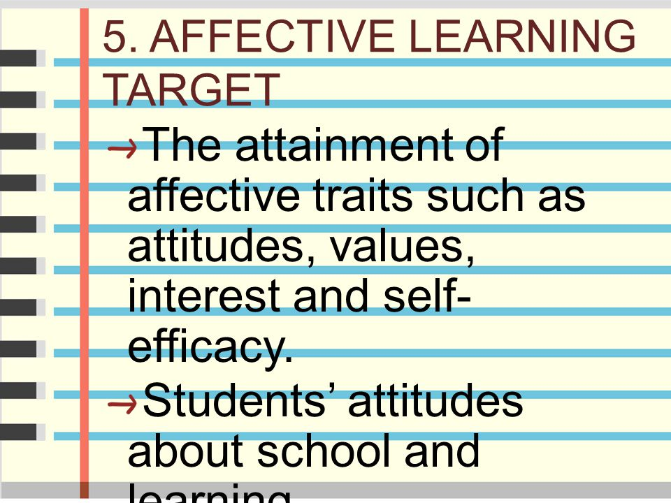 5. AFFECTIVE LEARNING TARGET The attainment of affective traits such as attitudes, values, interest and self- efficacy. Students' attitudes about scho