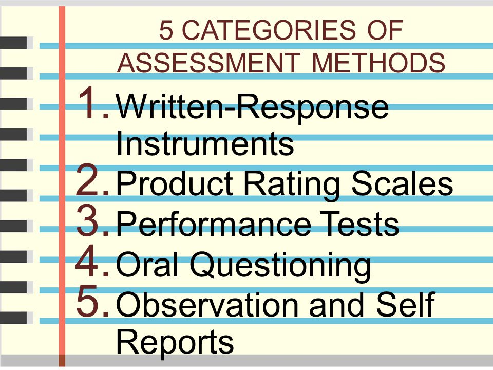 5 CATEGORIES OF ASSESSMENT METHODS 1. Written-Response Instruments 2. Product Rating Scales 3. Performance Tests 4. Oral Questioning 5. Observation an