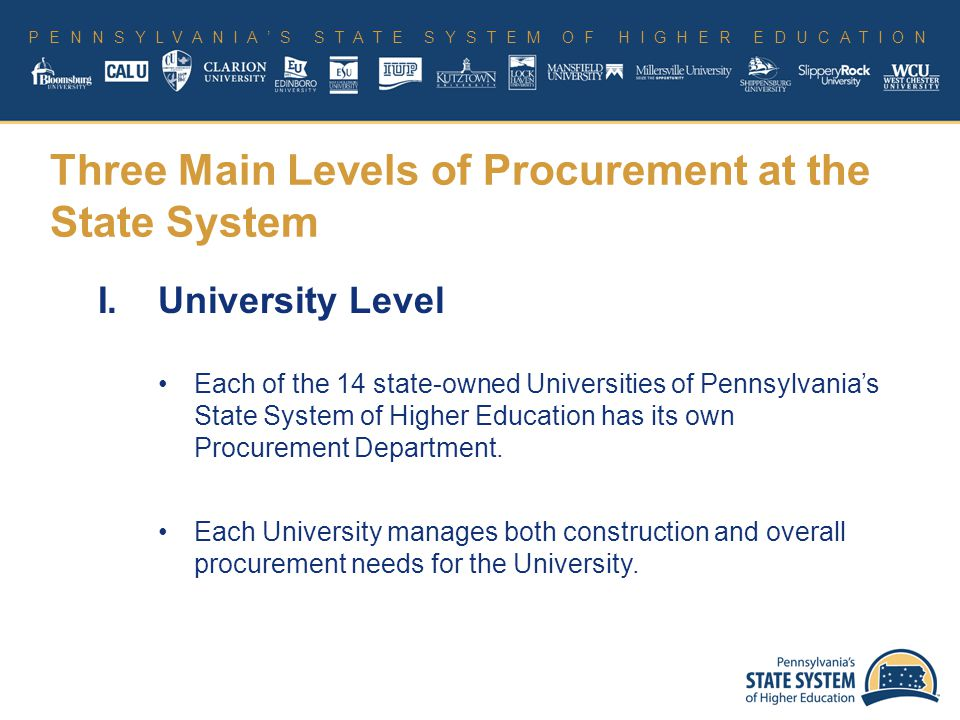 PENNSYLVANIA'S STATE SYSTEM OF HIGHER EDUCATION I.University Level Each of the 14 state-owned Universities of Pennsylvania's State System of Higher Education has its own Procurement Department.