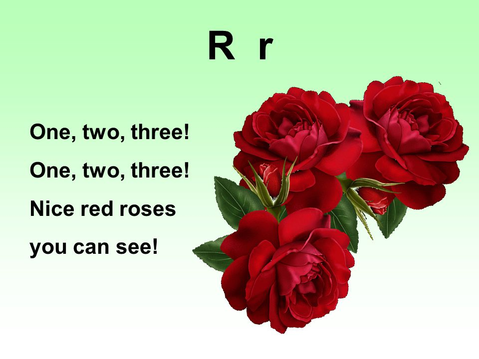 One, two, three! Nice red roses you can see! R r