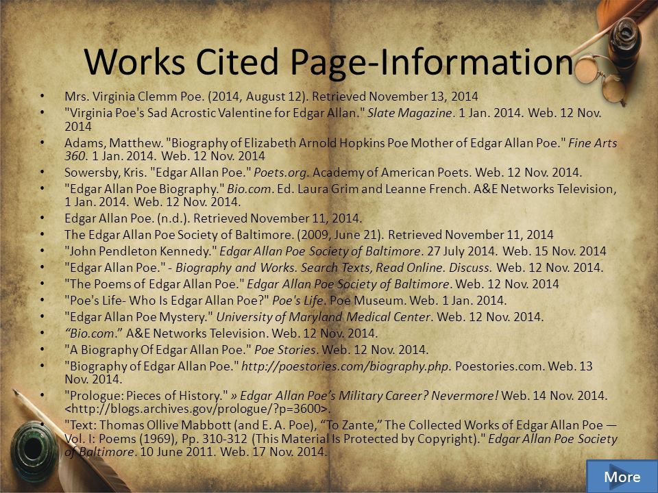 Works Cited Page Information Mrs. Virginia Clemm Poe.