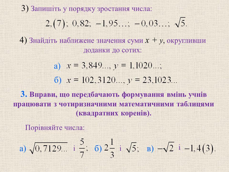 3) Запишіть у порядку зростання числа: 4) Знайдіть наближене значення суми x + y, округливши доданки до сотих: б) 3. Вправи, що передбачають формуванн