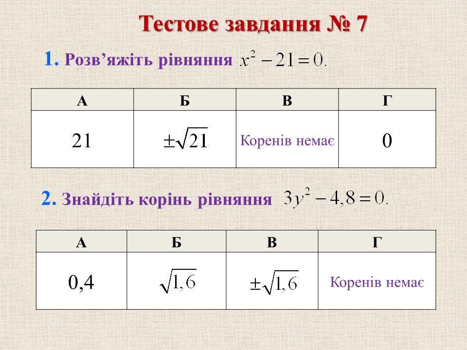 АБВГ 0,4 Коренів немає АБВГ 21 Коренів немає 0 1. Розв'яжіть рівняння 2. Знайдіть корінь рівняння Тестове завдання № 7