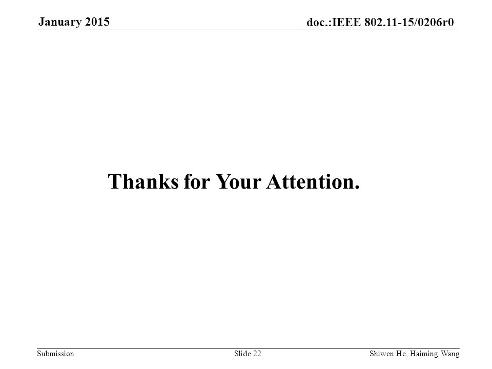 doc.:IEEE /0206r0 Submission January 2015 Shiwen He, Haiming Wang Slide 22 Thanks for Your Attention.