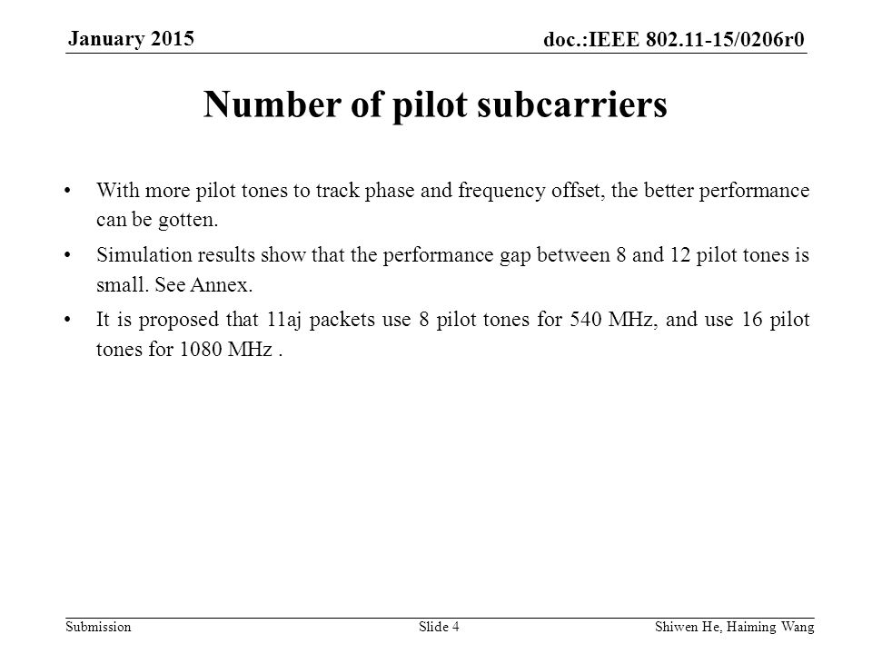 doc.:IEEE /0206r0 Submission January 2015 Shiwen He, Haiming Wang Slide 4 Number of pilot subcarriers With more pilot tones to track phase and frequency offset, the better performance can be gotten.