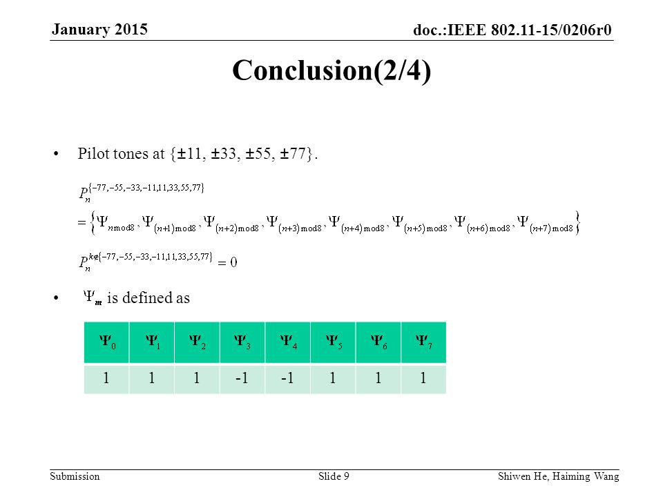 doc.:IEEE /0206r0 Submission January 2015 Shiwen He, Haiming Wang Slide 9 Conclusion(2/4) Pilot tones at {±11, ±33, ±55, ±77}.
