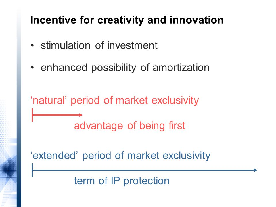 'natural' period of market exclusivity advantage of being first 'extended' period of market exclusivity term of IP protection Incentive for creativity and innovation stimulation of investment enhanced possibility of amortization