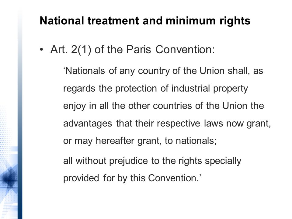 National treatment and minimum rights Art.