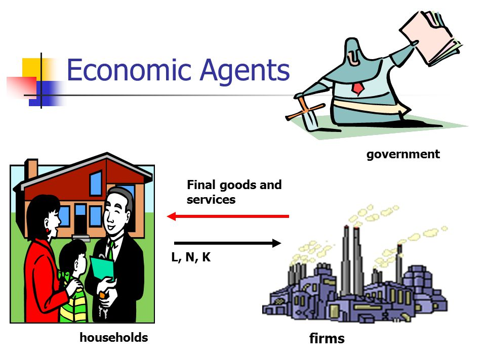 Economic Agents households firms government L, N, K Final goods and services