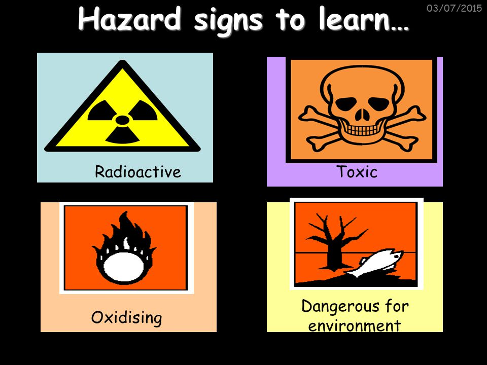 03/07/2015 Hazard signs to learn… Radioactive Oxidising Dangerous for environment Toxic