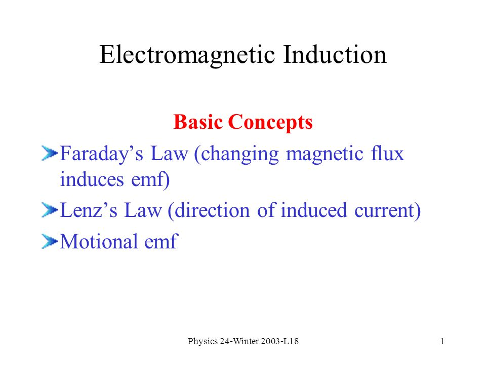 1 Physics 24 Winter 2003 L181 Electromagnetic Induction Basic Concepts Faradays Law Changing Magnetic Flux Induces Emf Lenzs Direction Of Induced