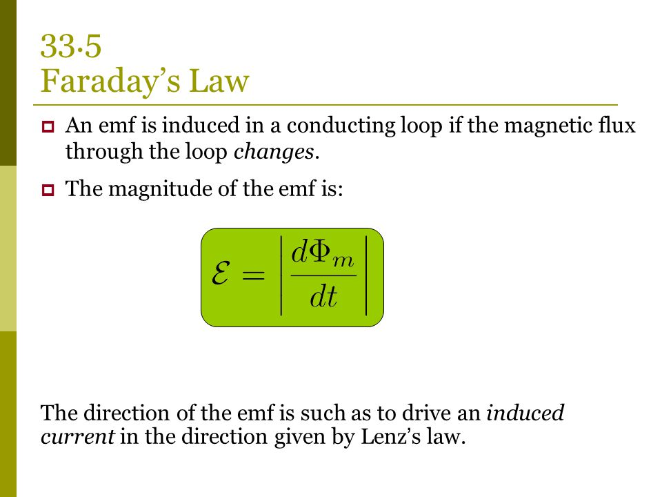  An emf is induced in a conducting loop if the magnetic flux through the loop changes.