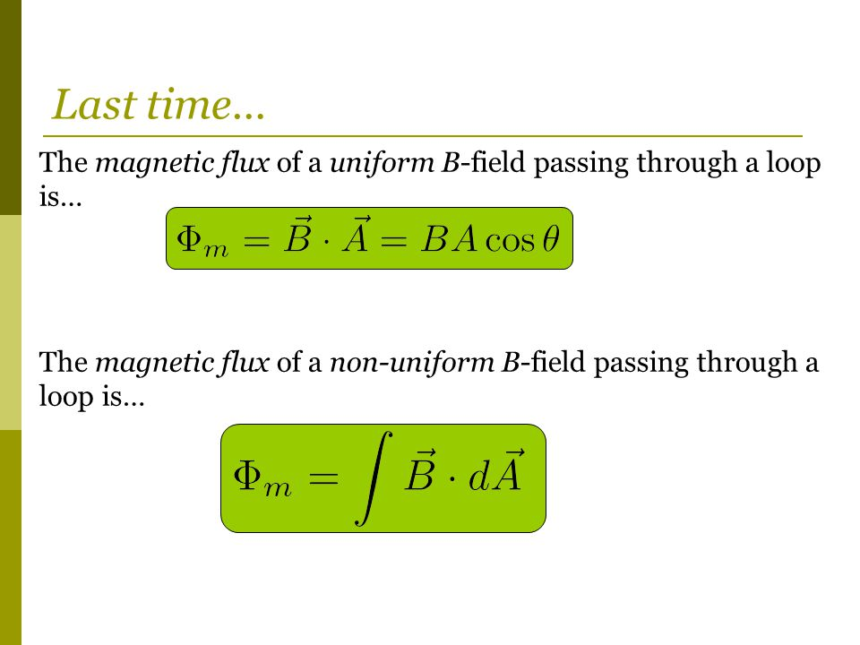 The magnetic flux of a uniform B-field passing through a loop is… The magnetic flux of a non-uniform B-field passing through a loop is… Last time…