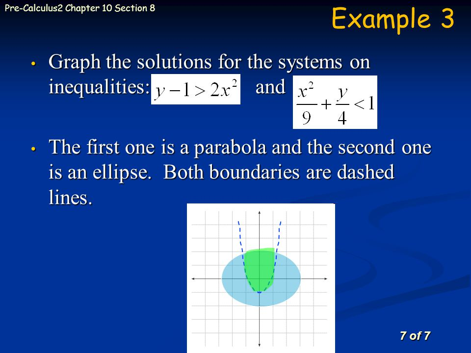 7 of 7 Pre-Calculus2 Chapter 10 Section 8 Graph the solutions for the systems on inequalities: and Graph the solutions for the systems on inequalities: and The first one is a parabola and the second one is an ellipse.