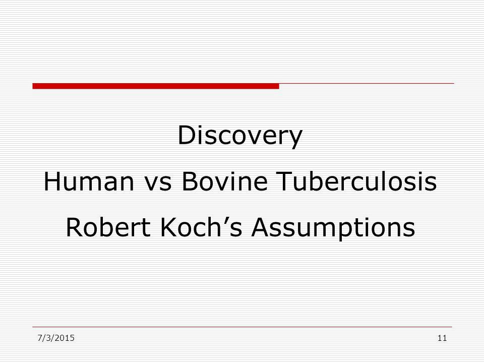 7/3/201511 Discovery Human vs Bovine Tuberculosis Robert Koch's Assumptions