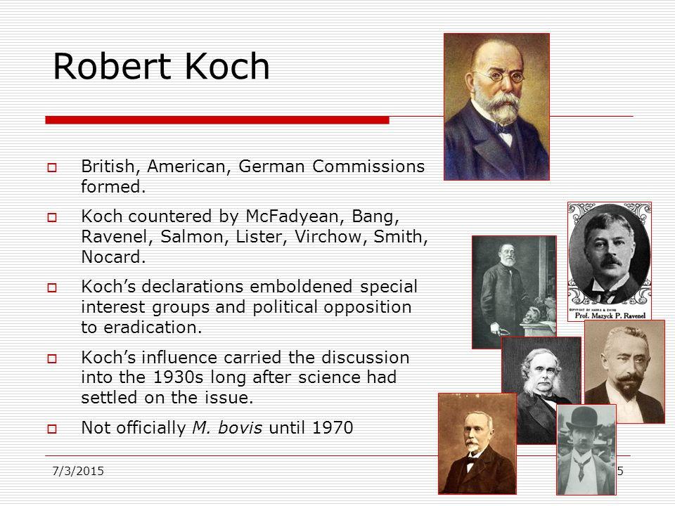 Robert Koch  British, American, German Commissions formed.