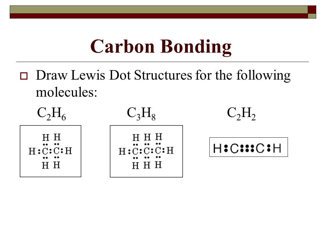 Carbon Bonding  Draw Lewis Dot Structures for the following molecules: C 2 H 6 C 3 H 8 C 2 H 2