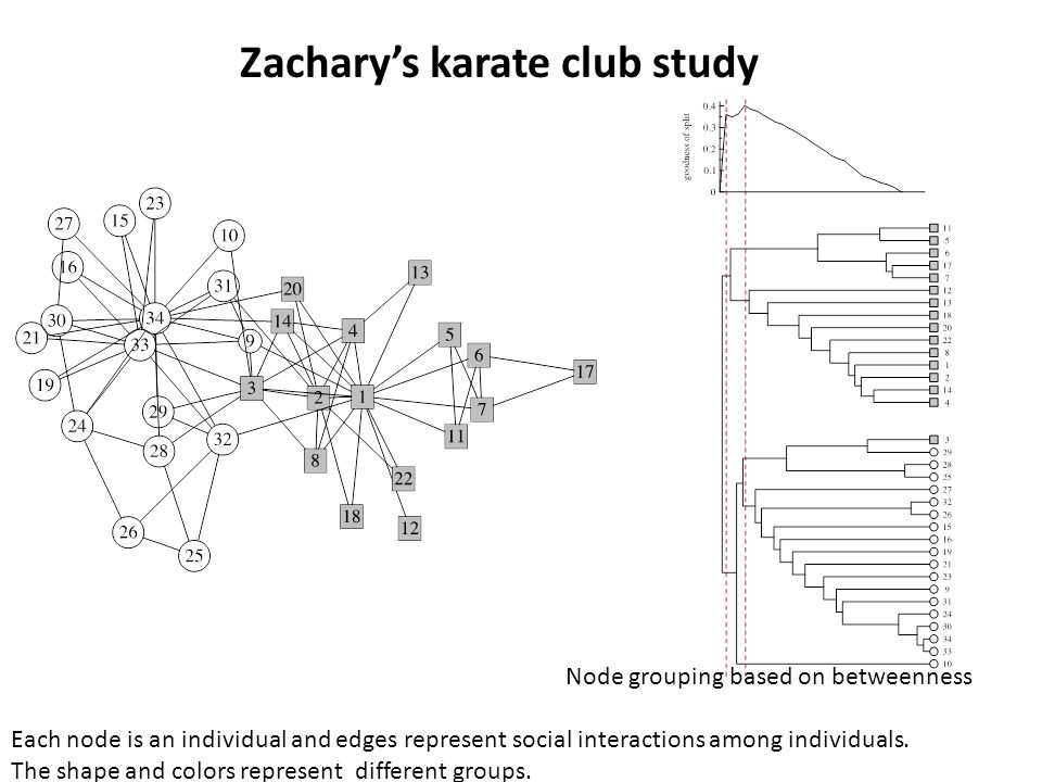 Zachary's karate club study Each node is an individual and edges represent social interactions among individuals.