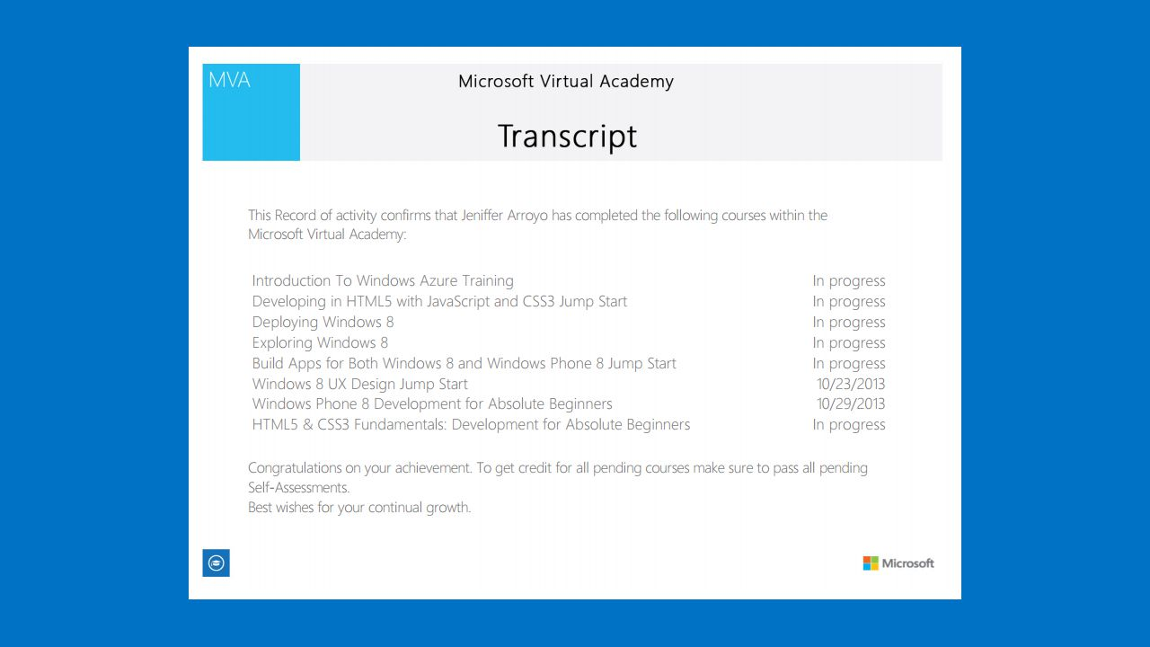 Microsoft virtual academy background graduated from asia pacific 24 1betcityfo Gallery