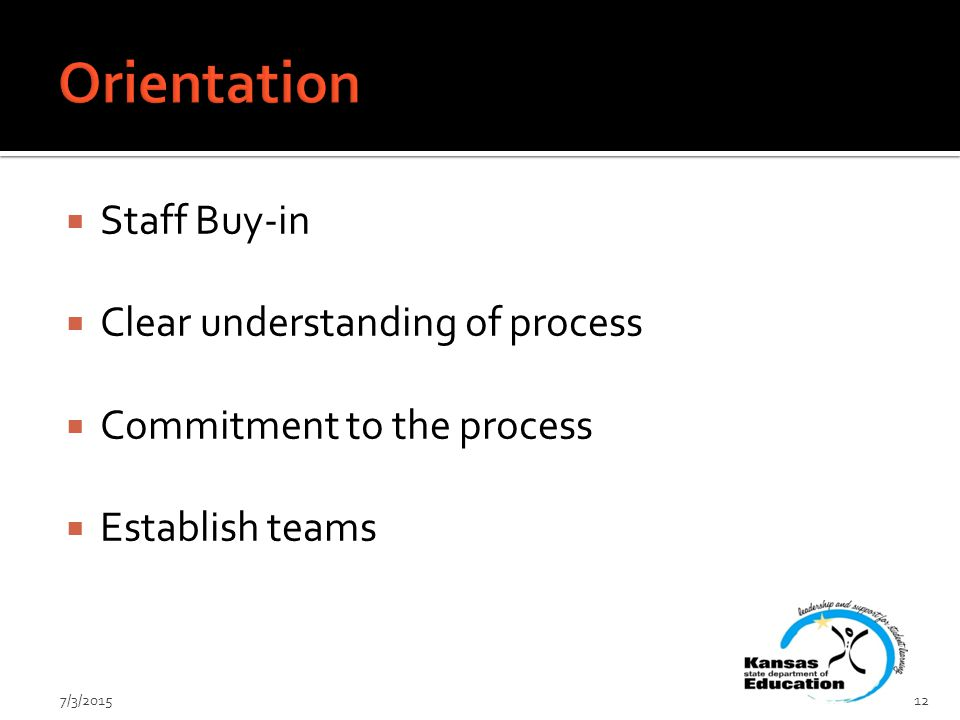  Staff Buy-in  Clear understanding of process  Commitment to the process  Establish teams 7/3/201512